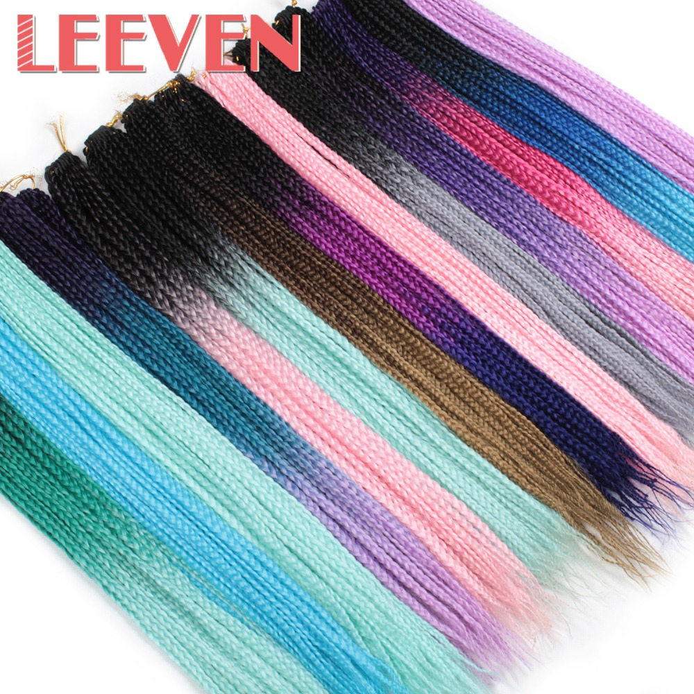 Leeven 24inch 24strands Ombre Box Braid Crotchet Braids Hair Extensions Synthetic Kanekalon Braiding Hair Pink Blue Colors