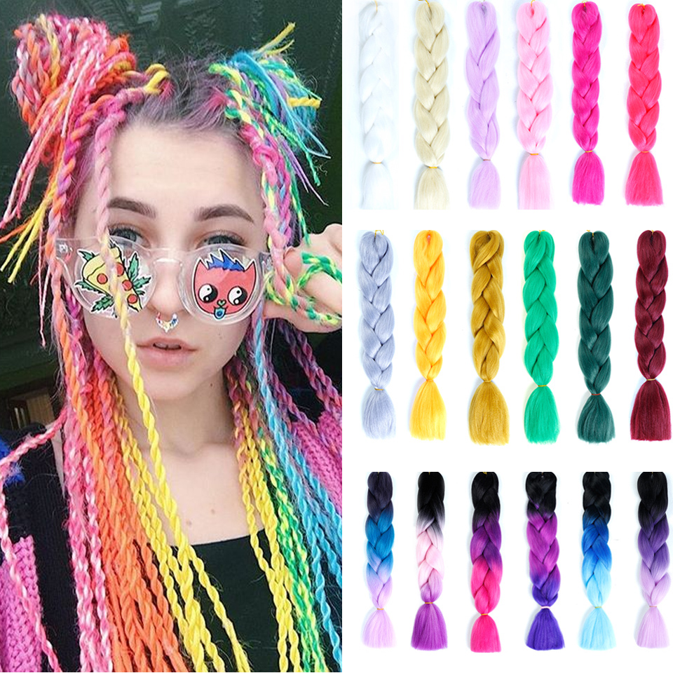 YYOUFU 100g 24inch Synthetic Hair Extensions Jumbo Braids Long Ombre Braiding Hair Soft Jumbo Braid Crochet Hair   headwear