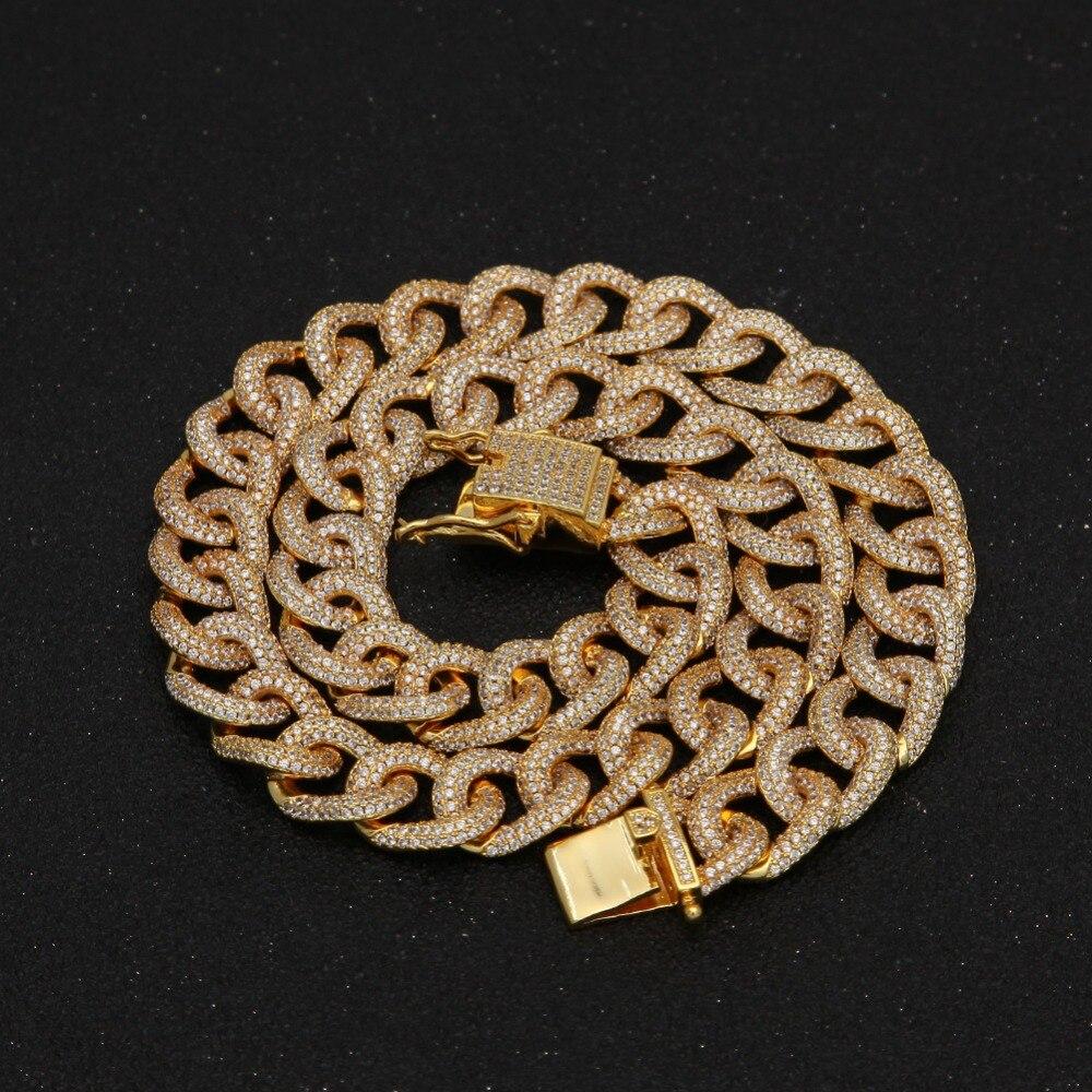 Luxe hommes femmes or argent noir complet AAA Zircon colliers DJ chaînes Bling glacé Hip Hop strass bijoux fermoir