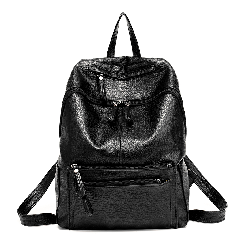 Good quality Famous Brand Backpack Women Backpacks Solid Vintage Girls School Bags for Girls Black PU