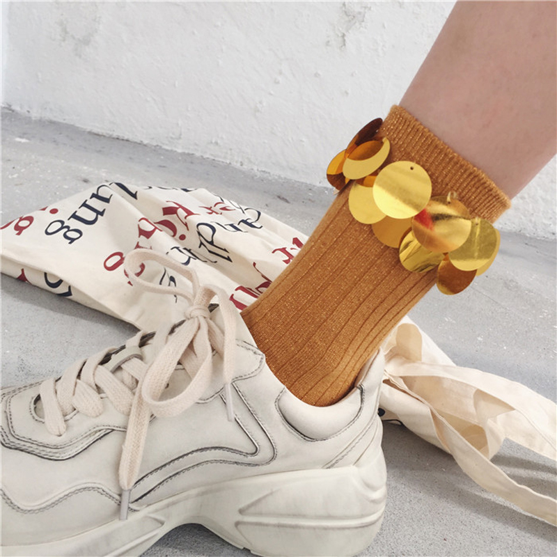 New Design Autumn Sequins Decoration Cotton Short   Socks   Women Shiny Winter   Socks   Female Soft Breathable Art Harajuku   Socks