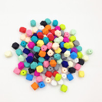 Fast Shipping Wholesale Silicone Teething Loose Beads 500pcs Lot Silicone Hexagon Beads For Teething Jewellery