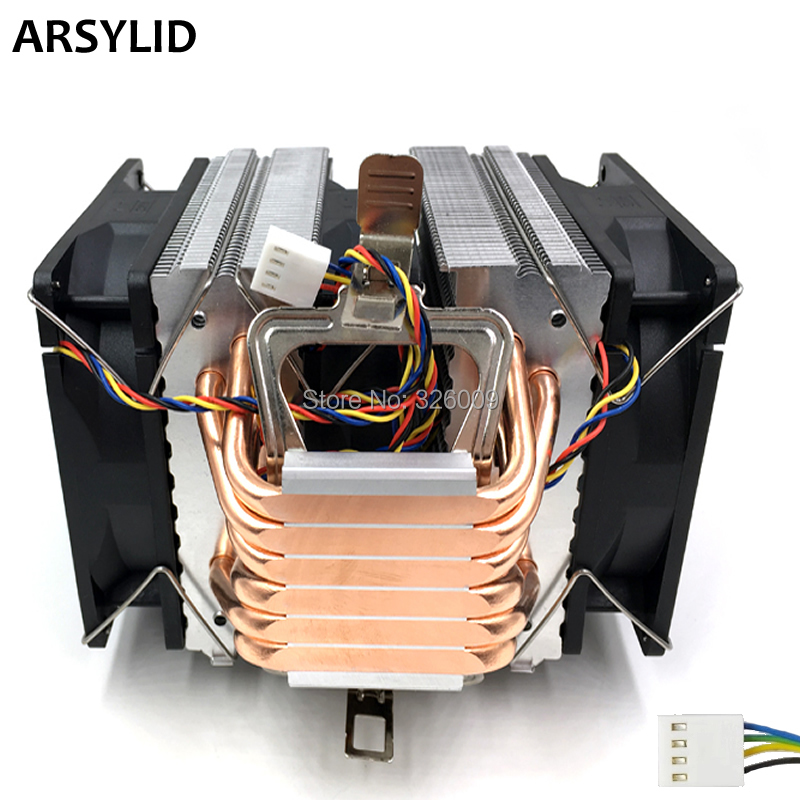 ARSYLID CN-609A-P 3 piezas 9 cm 4pin ventilador 6 heatpipe CPU cooler para Intel 4790 K procesador lga 1151 disipador de calor de refrigeración para AMD