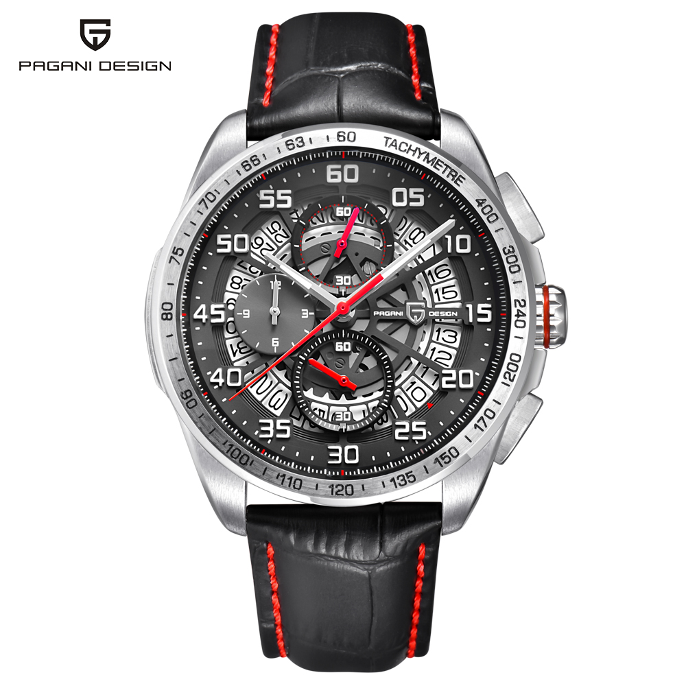 PAGANI DESIGN Luxury Brand Watch Waterproof Leather Quartz Skeleton Watches Sports Chronograph Men's Watches Relogios Masculino luxury brand pagani design waterproof quartz watch army military leather watch clock sports men s watches relogios masculino