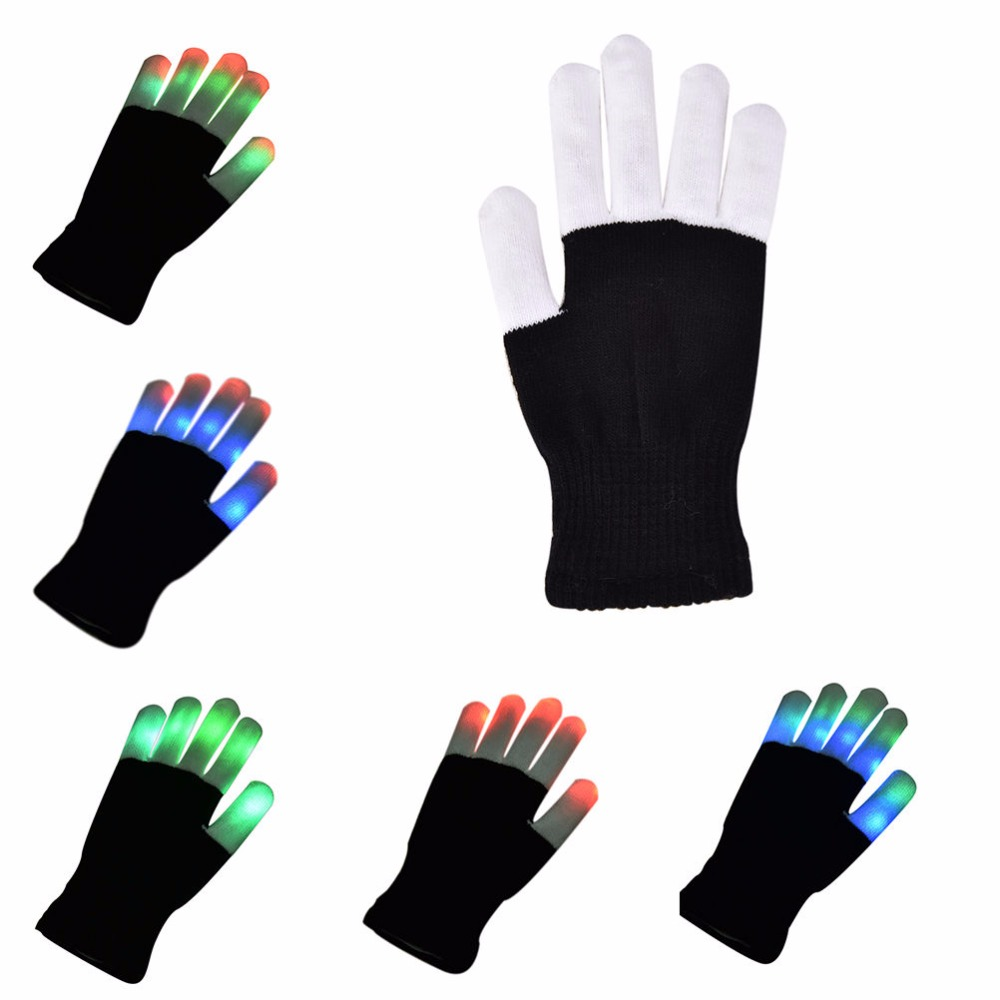 1Pc Kids LED Rave Flashing Gloves Glow 7 Mode Light Up Finger Lighting Decor US