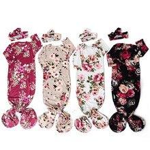 Хлопковое мягкое одеяло для новорожденных и маленьких девочек 0-6 месяцев, спальный мешок с цветочным принтом, пеленальный мешочек, повязка на голову, комплект из 2 предметов, одежда для малышей