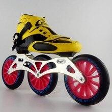 Взрослых, профессиональные армированные, для взрослых обувь для мужчин и женщин, марафон скорость, три скорости, 125 прямой ряд коньки, коньки, роликовые коньки