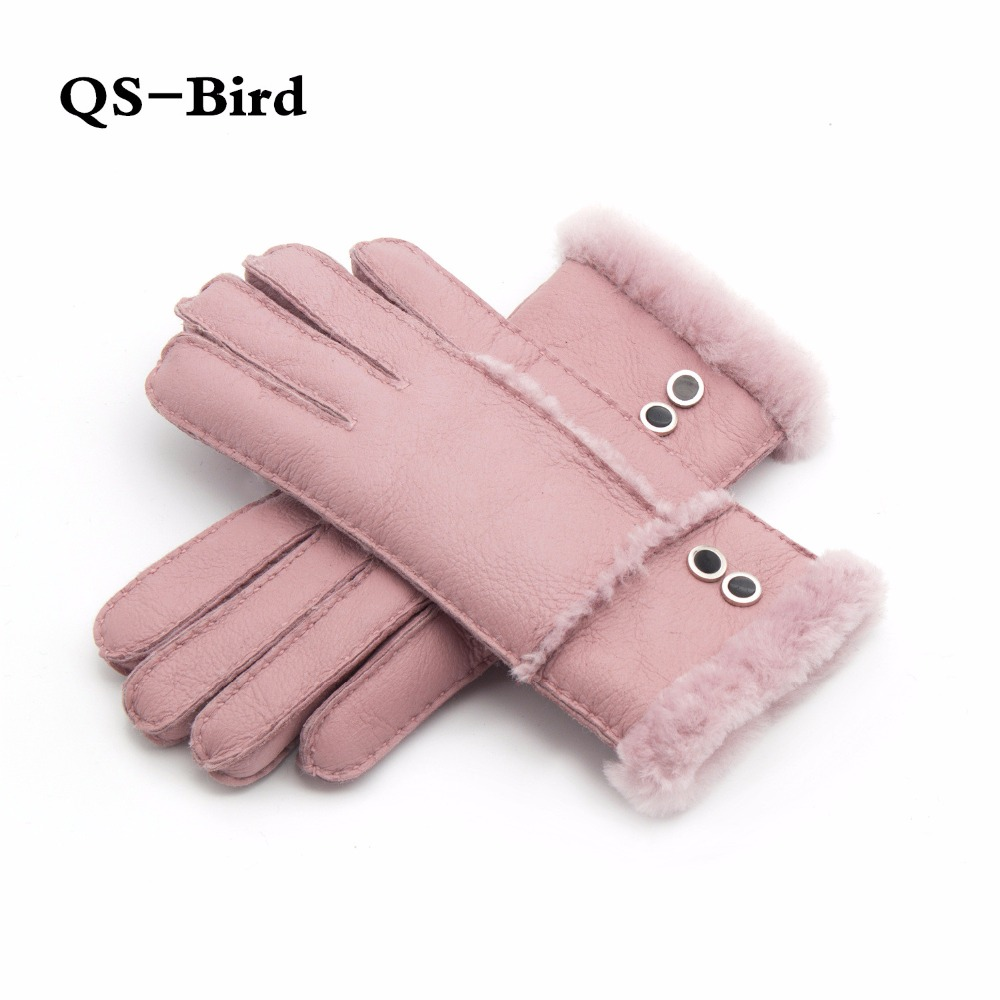 Real Fur Gloves For Women Mittens Sheepskin Solid Women Woolen Cashmere Winter Glove Sheep Fur Mittens Elegant Warm Women Gloves