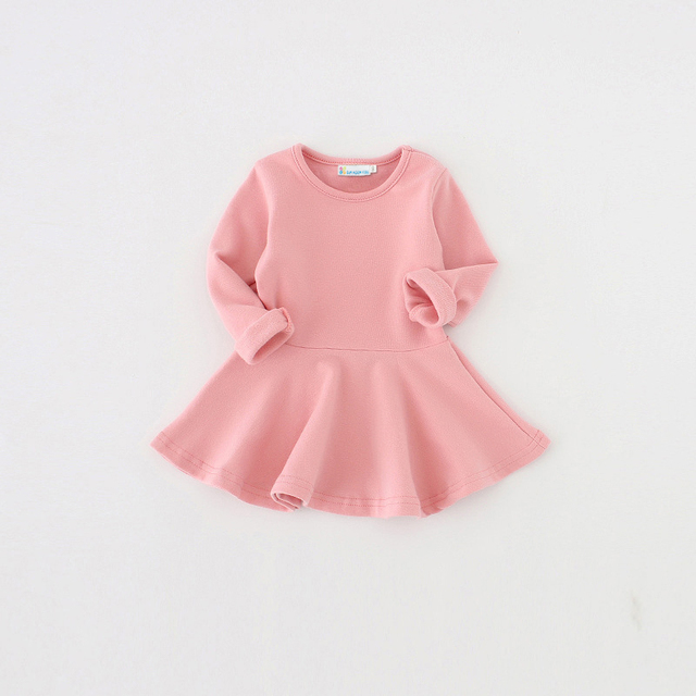 Sun Moon Kids 2017 Baby Girls Dress Candy Color Long Sleeve Spring and Autumn Toddler Girls Clothing Children Princess Dress