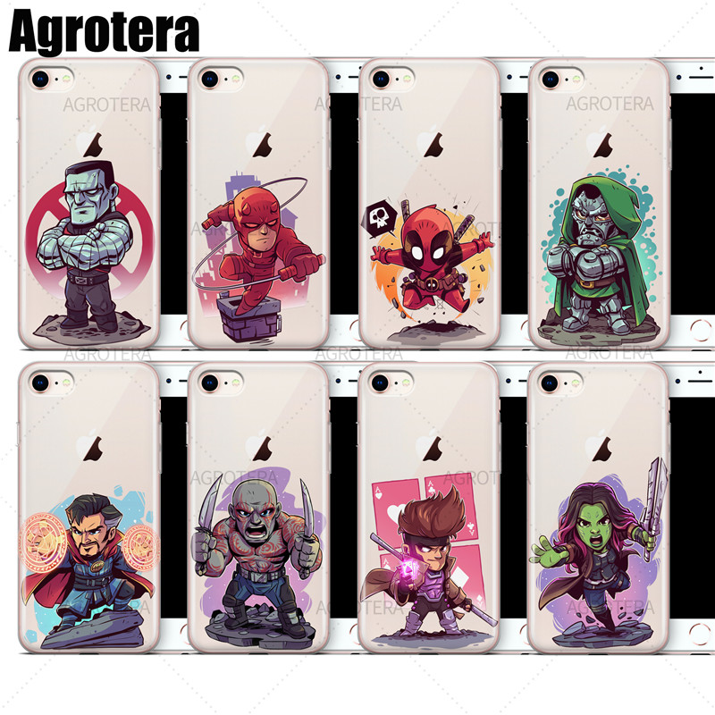 Fitted Cases Intelligent Aertemisi Clear Tpu Case Cover For Iphone 7 8 Daredevil Deadpool Doctor Doom Strange Drax Gambit Gamora Goblin Gwenpool Hulk