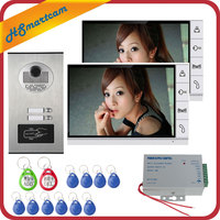 9 inch Home Video Interphone Doorphone Bell Kits Home Families Door Inductive Card Camera with 2 Monitor Intercom Systems