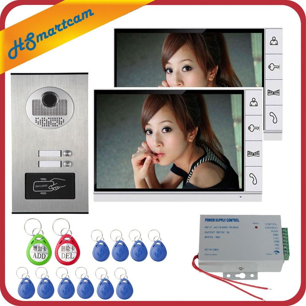 9 pouces Maison Interphone Vidéo Interphone Cloche Kits Familles Porte Carte Inductive Caméra avec 2 Moniteurs Interphone Systèmes