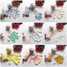 DVOTINST Newborn Photography Props Baby Knit Crochet Hat+Outfits+Pillow 3pcs Set Fotografia Accessories Studio Shoots Photo Prop