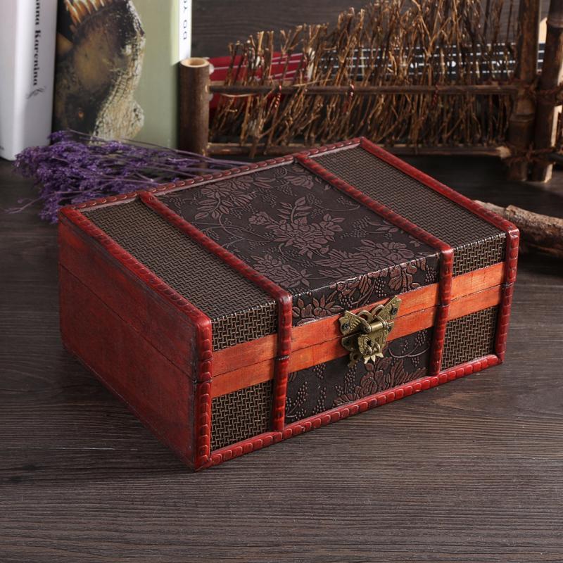Vintage Wooden Storage Box Jewelry Box Metal Lock Treasure Chest Case Wooden Desktop Handicraft Sundries Organizer Container spongebob comics treasure chest