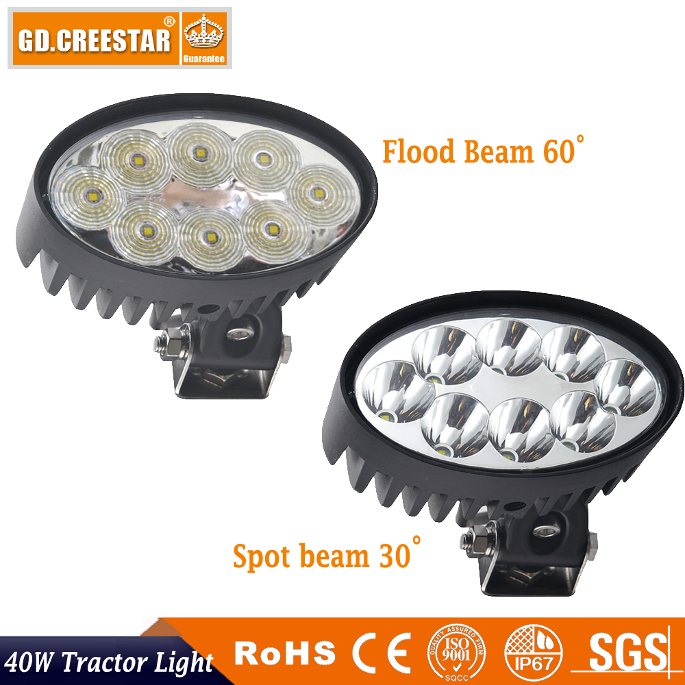 40W led tractor lights 12v 24v Oval 6inch led work lights used for tractor boat marine suv led lights x1pc GDCREESTAR lamps x1pc used tractor parts