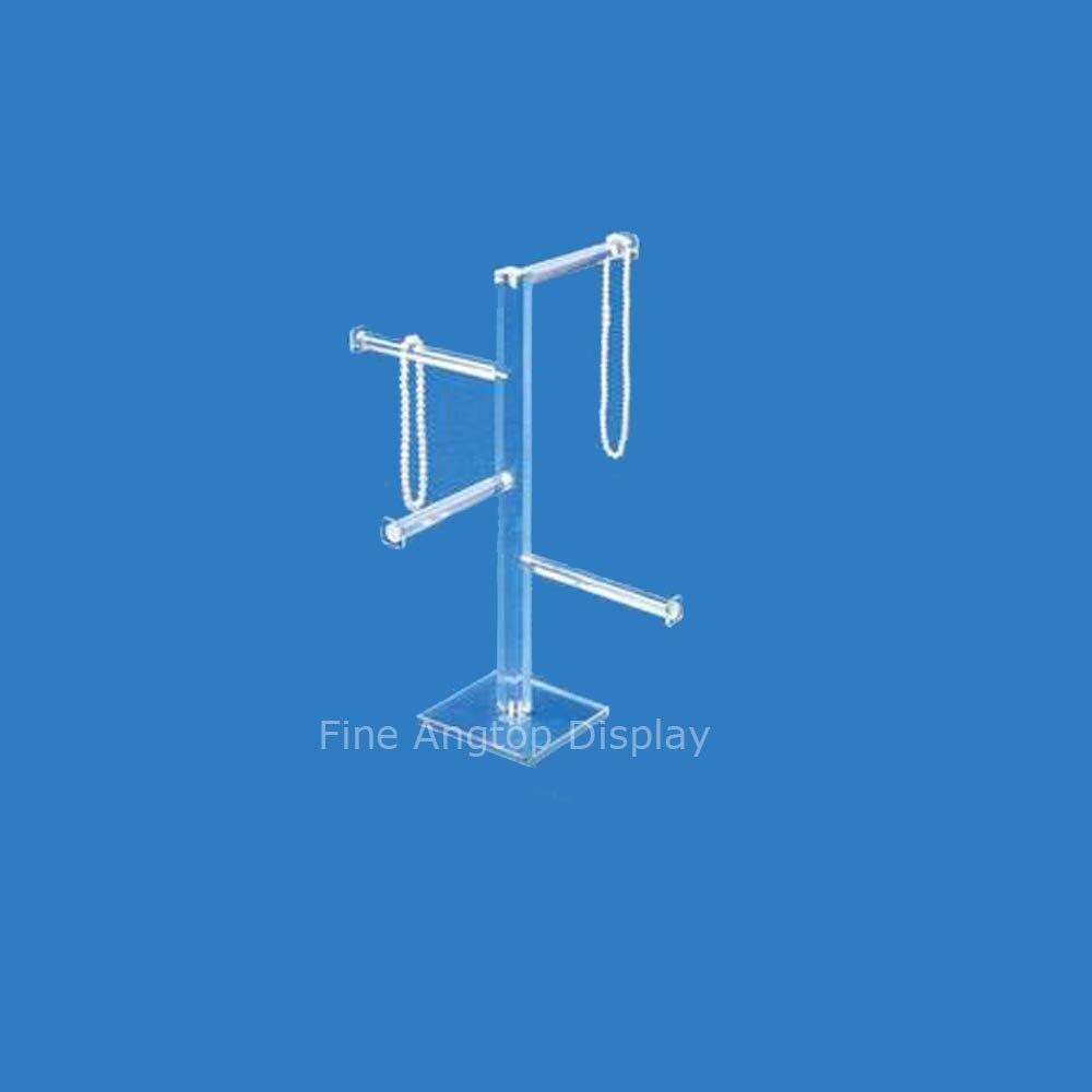 Présentoir de bijoux de chaîne de Bracelet de Bracelet acrylique clair de 4 niveaux pour afficher des colliers courts