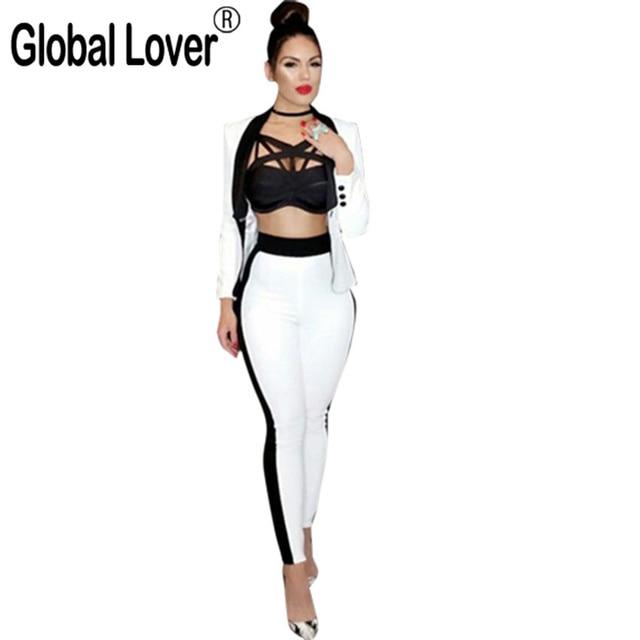 Women 2 Piece Pants Set 2016 Ol Suits Business Female Set Fashion Black White Womens Office Ladies formal Wear Elegant Pantsuits