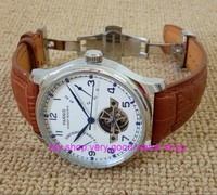 43MM PARNIS Butterfly buckle ST2530 Automatic Self Wind movement white dial power reserve men's watch brown Leather Strap