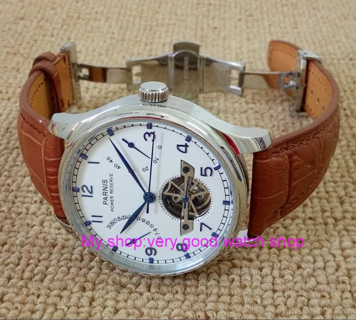 43MM PARNIS Butterfly buckle ST2530 Automatic Self-Wind movement white dial power reserve men's watch brown Leather Strap 43mm parnis white dial power reserve automatic self wind mechanical movement men s watch cow leather strap butterfly button 12