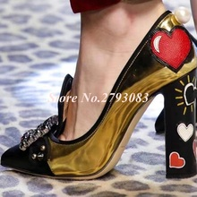 Buckles New Shoes Lady Gold Leather Woman Pumps High Square Heels Designer Graffiti Runway Party Dress