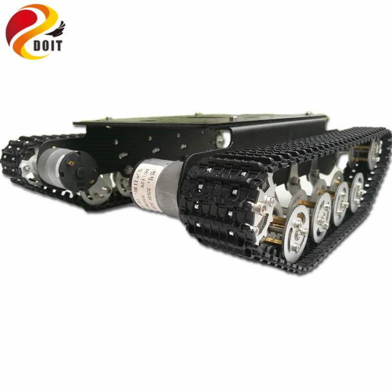 цена DOIT Shock Absorption rc Robot car chassis kit Crawler Tank Car Chassis with Suspension Track Caterpillar Crawler eduactional ki