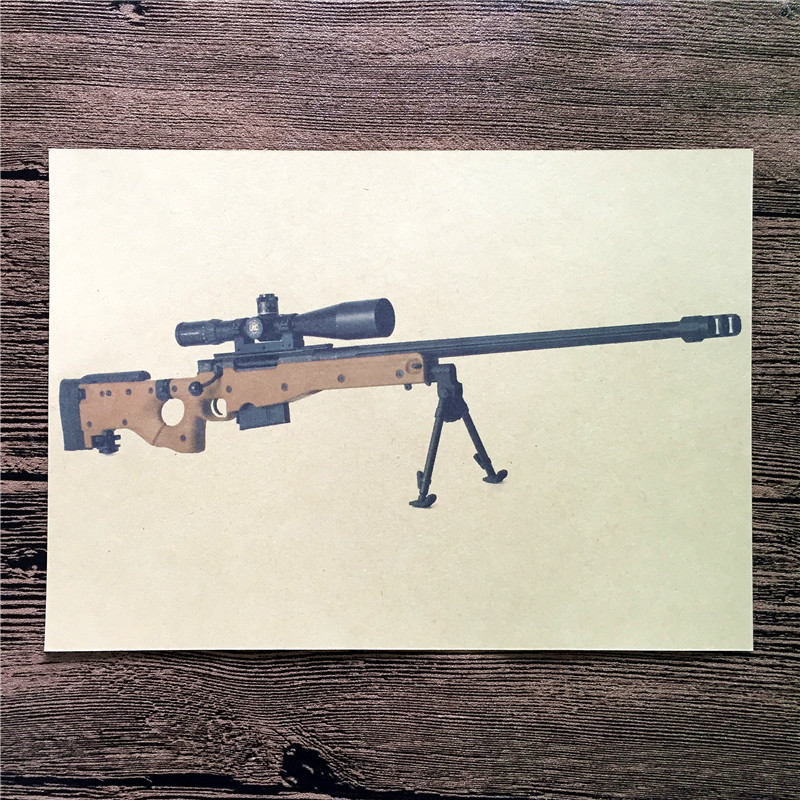 Direct selling RMG-023 New arrival Sniper rifle Kraft paper vintage poster wall pictures for living room home decor 42x30 cm