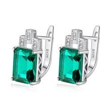 Columbia Emerald Earrings Clip 925 Sterling Silver Ear Studs Green Gem Stone Ear Buckle Earrings For Women Jewelry pair of elegant faux gem clip earrings for women