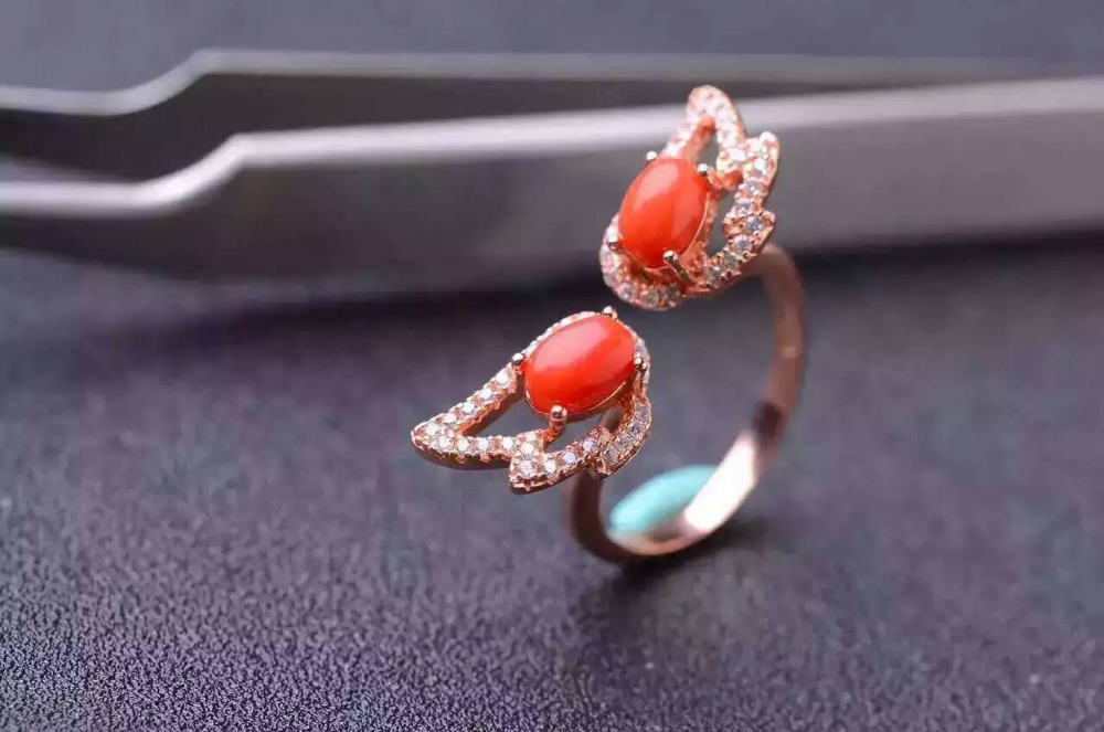 Natural blue topaz gem Ring Natural red coral ring S925 silver trendy elegant glasses wing Adjustable women's girl fine Jewelry