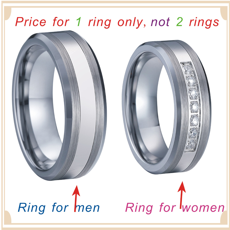 Combined Titanium Tungsten Rings Men's Wedding Band silver color bague anel anillos Couple Engagement Rings for women (6)