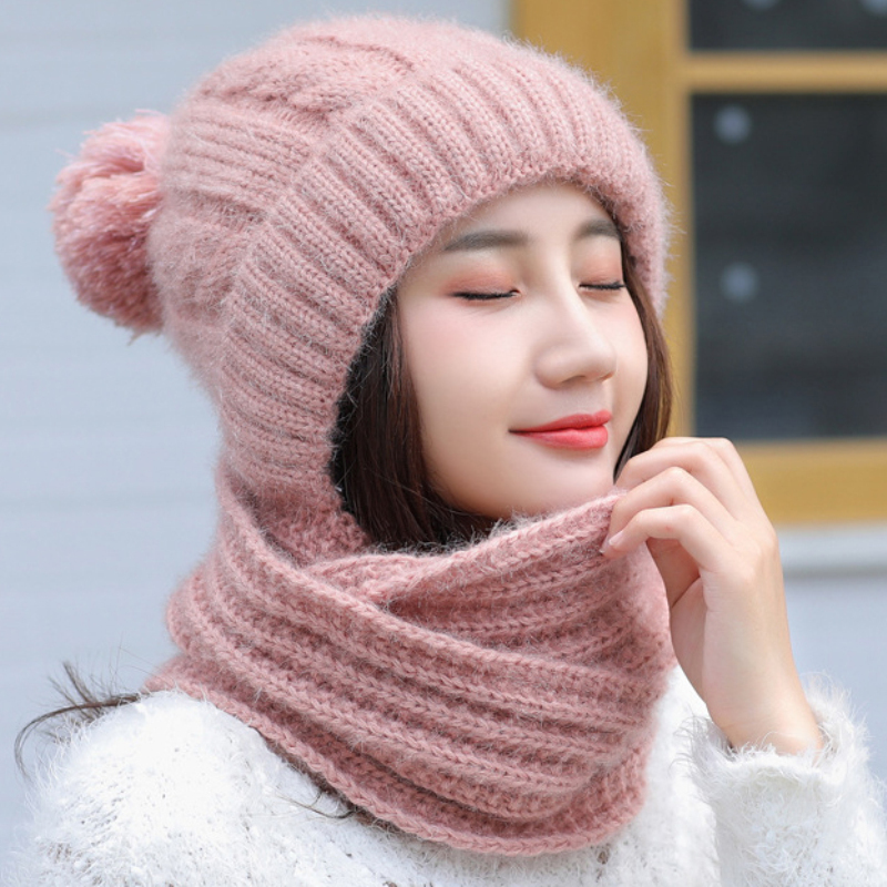 HT2131 Winter Accessories For Women Thick Warm Women Winter Beanie Hat Scarf Set Ladies Knitted Wool Hat Scarf For Winter Set