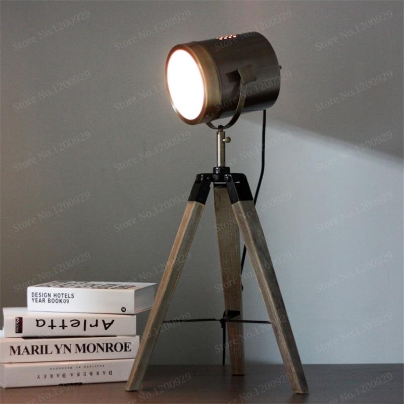 vintage handmade wood holder aluminum metal lampshade led table lamps modern projector desk. Black Bedroom Furniture Sets. Home Design Ideas