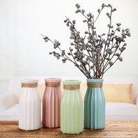Christmas Home Decoration Vase Europe Style Ceramic Tabletop Flower Vases Linen Colored Flower Water Plant Vases For Decoration
