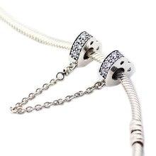 Pandulaso brillante arcos de cadena de seguridad amor mujer DIY beads para joyería hacer original 925 encantos de plata pulseras