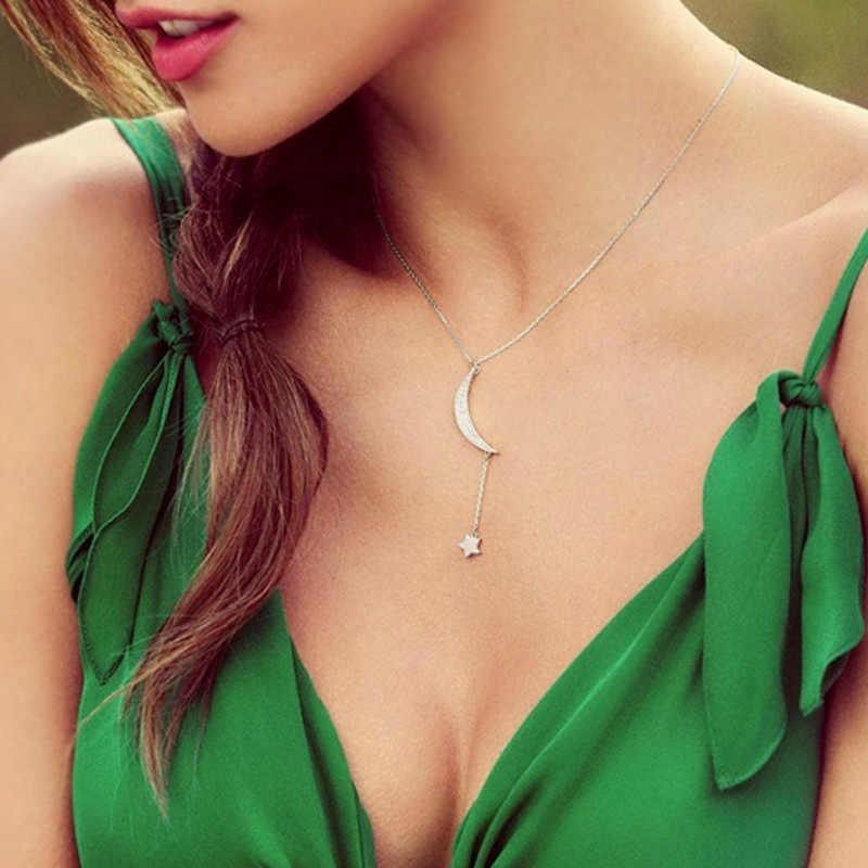 Новые поступления 925 пробы серебро, цирконий Moon Star Длинные ожерелья и подвески для Для женщин Мода стерлингового-серебро-ювелирные изделия