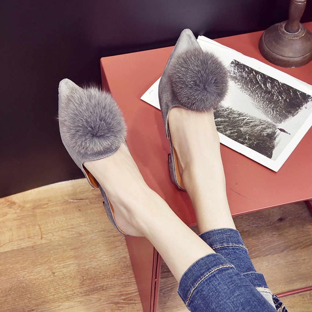 Mode Vrouwen Platte Balletschoenen bont Wees Teen Flats Schoenen Elegante Comfortabele Lady Shiny ShoesPlus Grootte Designer Vrouw Platte