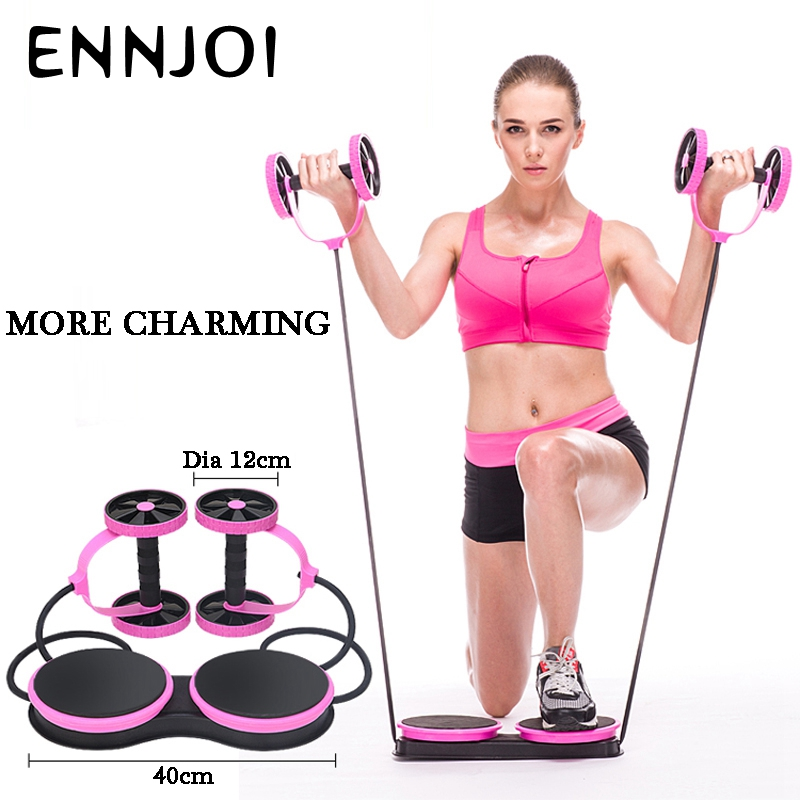 Abdominal Roller Yoga Resistance Pull Rope Sports Elastic Abdominal Roller Crossfit Exercise Fitness Home Gym Equipment