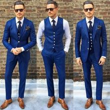 Custom Made Royal Blue Men Suit Double Breasted Casual Slim Business Suits