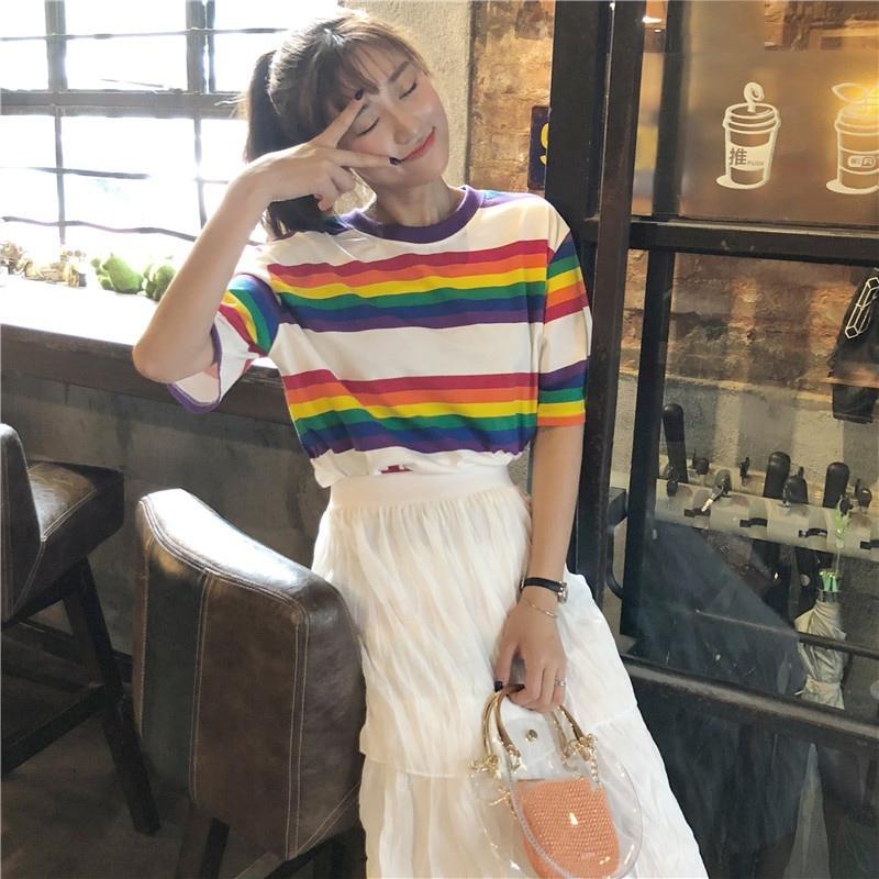 544281b2d Nuevo T camisa las mujeres Arco Iris rayas Tops 2019 de manga corta ...