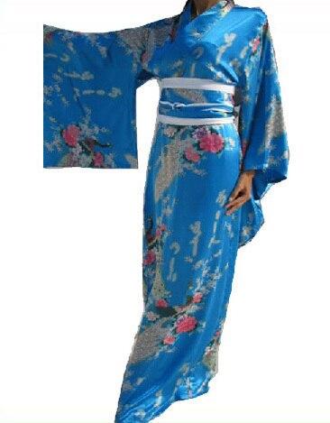 Free Shipping New Blue Japanese Women's Silk Satin Kimono Evening Dress Yukata Flowers one size H005