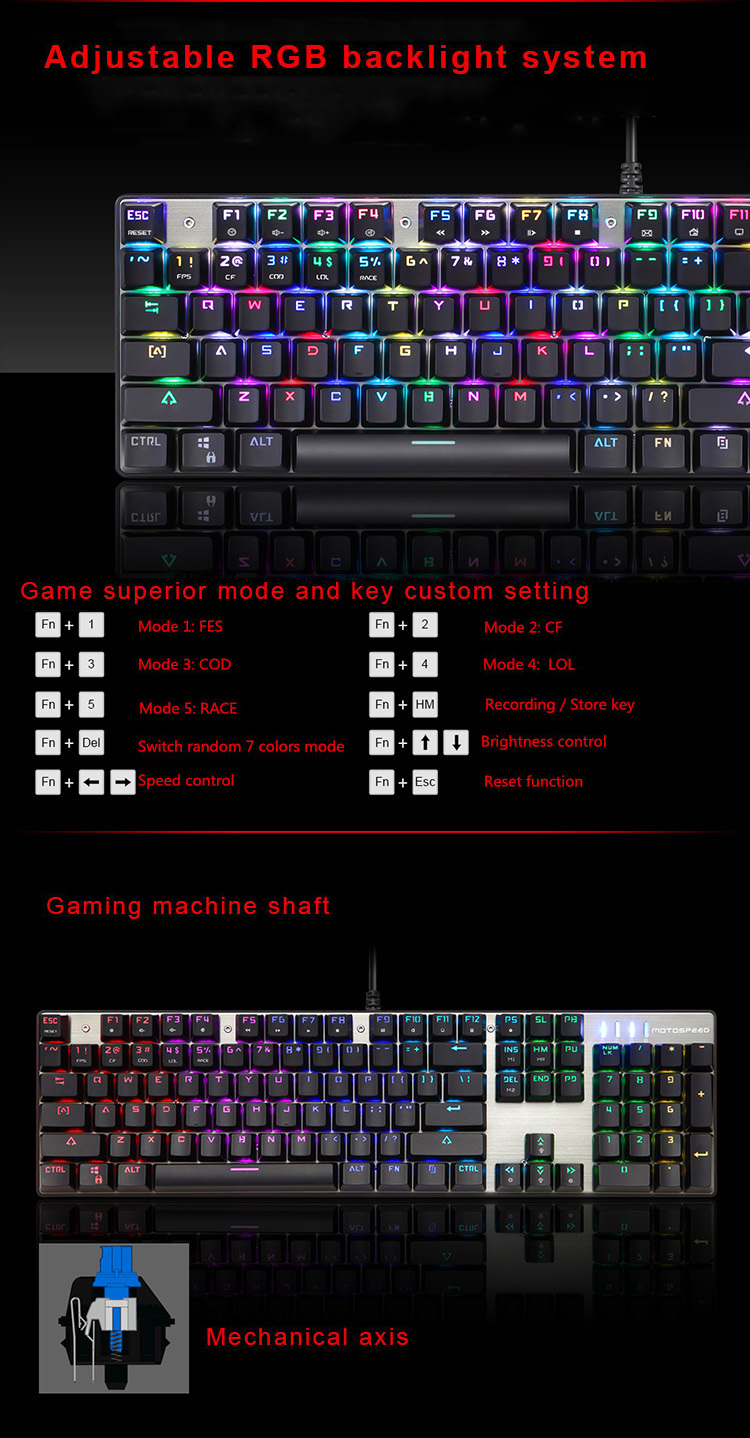 Motospeed Ck888 Gaming Keyboard Usb Wired Rgb Backlight Mechanical 1 Set Pc Package Contents X Mouse Bilingual Manual In English And Chinese