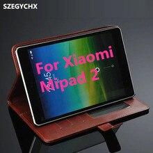 Envío libre mipad 2 case genuino tablet case para xiaomi mipad 2 cubierta de cuero de alta calidad + pantalla táctil de la pluma de regalo