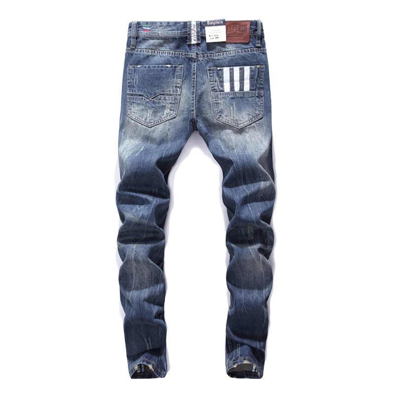 Balplein Brand Jeans Donkerblauw Kleur Straight Fit 100% Katoen Ripped Jeans Mannen Knoppen Broek Klassieke Jeans Mannelijke Kleding