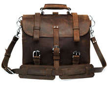 Vintage Carzy Horse Genuine Cowhide Leather Men Briefcase Luxury Quality Solid thick Genuine leather men Laptop
