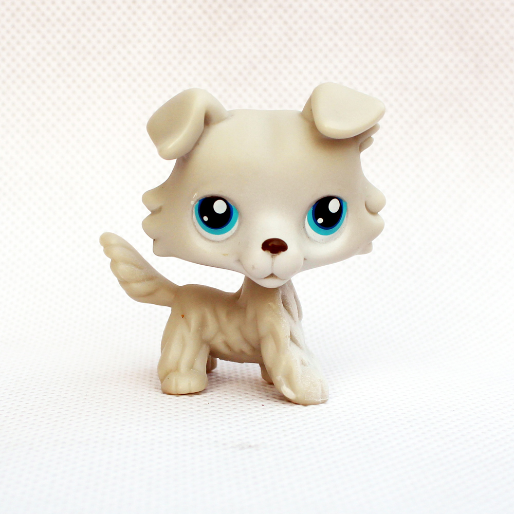 Rare Anime Figure Animal Pet Shop Toys Collie #363 White Dog With Blue Eyes Old Original Child Gifts
