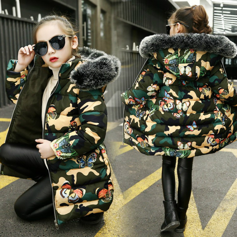 цена Children's Wear Cotton-padded Clothes Girls 2018 Winter Camouflage Printed Thickening Clothes Children Fashion Hooded Jacket