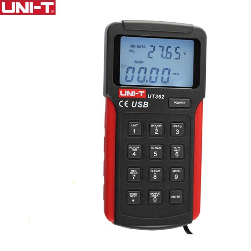 UNI-T UT362 Anémomètre rapidité du flux Testeur Vent Compter Mesure Unité Commutateur LCD Rétro-Éclairage USB Transmission de Données Température