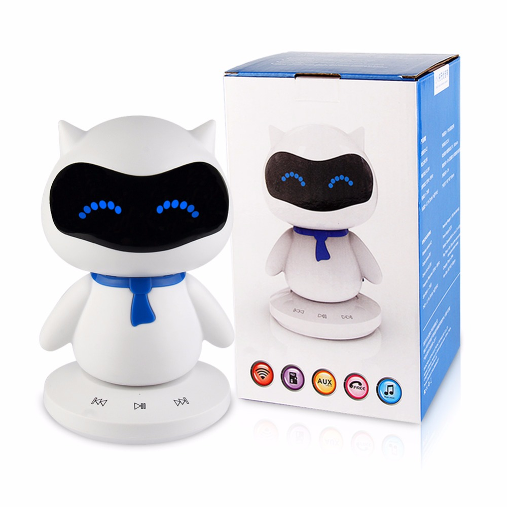 US New Mini Portable Cute Robot Smart Blueototh Speaker With Music Calls Handsfree TF MP3 AUX Function For All Bluetooth Devices
