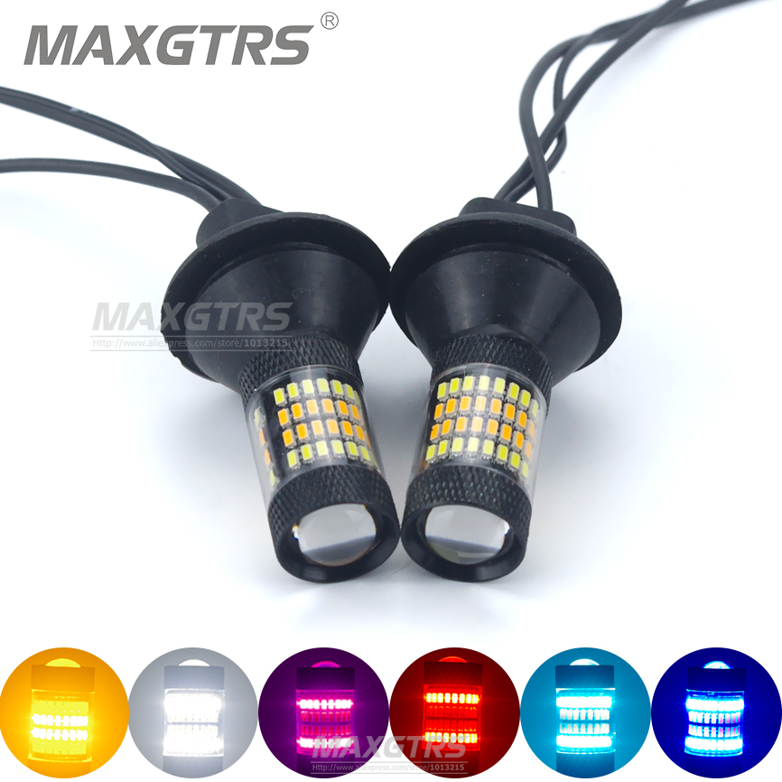 2x T20 7440 W21W 96 SMD 3014 Car Led Light Daytime Running Light Turn Signal Canbus