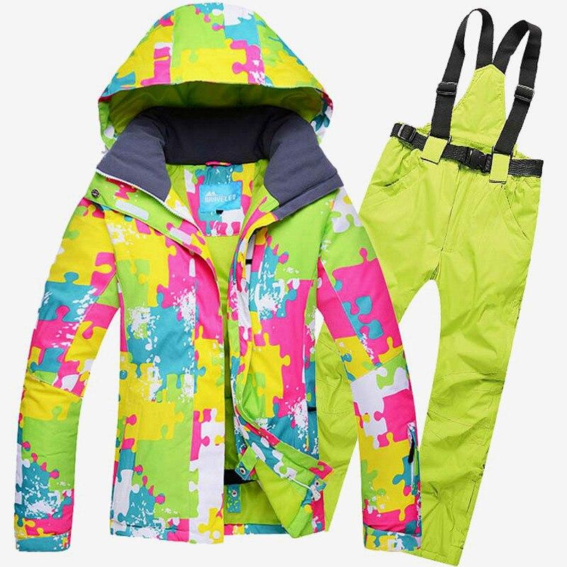 Per le donne tuta da sci Impermeabile antivento outdoor sports wear snowboard Sci sport giacca + Pantaloni per le ragazze inverno vestiti caldiPer le donne tuta da sci Impermeabile antivento outdoor sports wear snowboard Sci sport giacca + Pantaloni per le ragazze inverno vestiti caldi