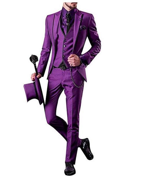 Purple Wedding Men's New Long Swallowtail Slim Fit Suit Wedding England Style Jacket Customized Speech Stage Suit Fit Suit